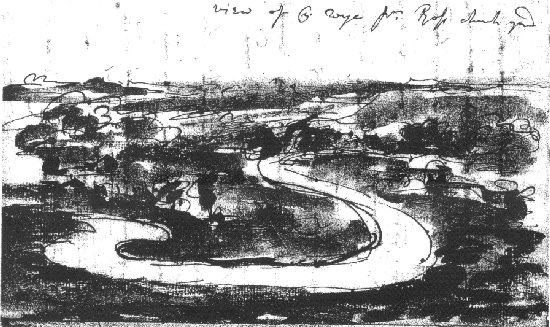 Gilpin rough sketch of R. Wye from Ross churchyard